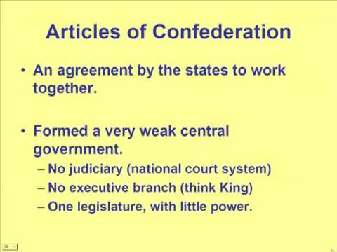 Schmidt Notes - US History - Unit 1 - Articles of Confederation