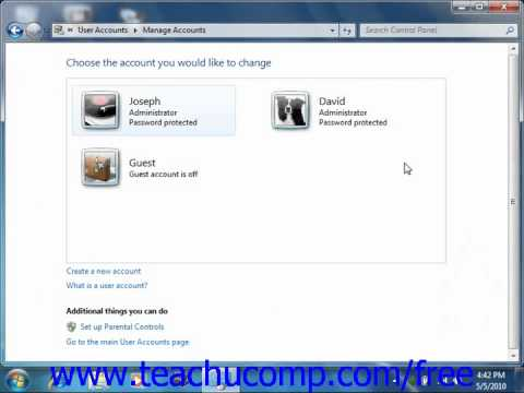 Windows 7 Tutorial Creating Users Microsoft Training Lesson 2.9