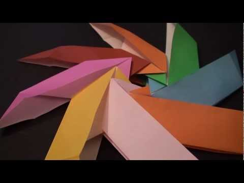 Origami Daily - 051: Modular Boat Fold Pinwheel - TCGames [HD]