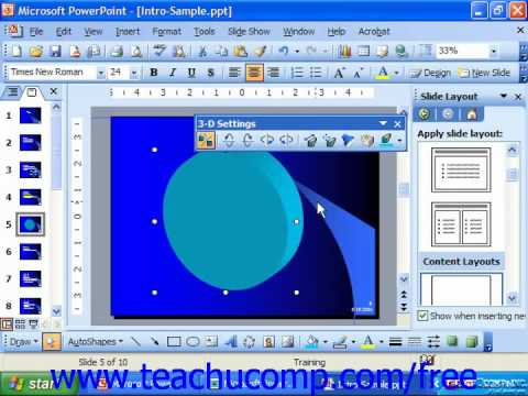PowerPoint 2003 Tutorial 3D Microsoft Training Lesson 19.10