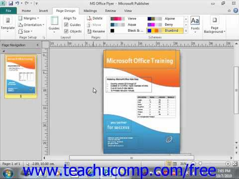 Publisher 2010 Tutorial Using Page Setup Microsoft Training Lesson 9.1