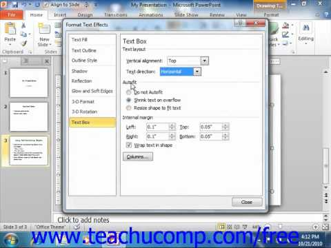 PowerPoint 2010 Tutorial Setting Text Box Options Microsoft Training Lesson 4.7