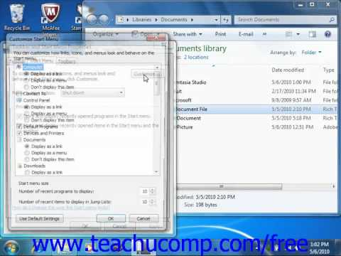 Windows 7 Tutorial Opening a Recently Accessed File Microsoft Training Lesson 6.4
