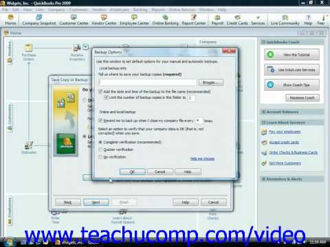 QuickBooks Tutorial Creating a Backup File Intuit Training Lesson 2.6