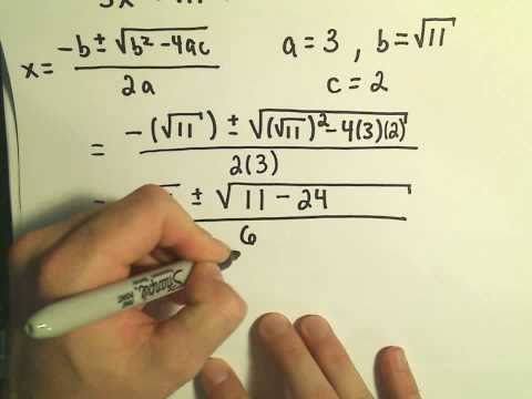 Solving Quadratic Equations using the Quadratic Formula - Example 2, Complex Solutions