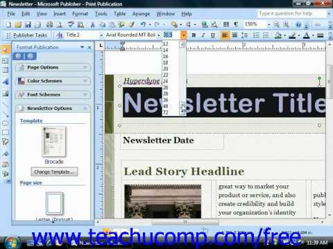 Publisher 2003 Tutorial Changing the Font Size Microsoft Training Lesson 4.2