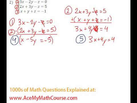 Systems - 3 Equations and 3 Variables #2