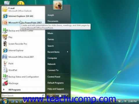 Windows Tutorial Customizing the Start Menu Microsoft Training Lesson 3.4
