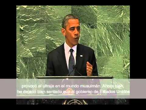 Obama Address at U.N. :U.S. Respects Freedom of Religion with Spanish Subtitles