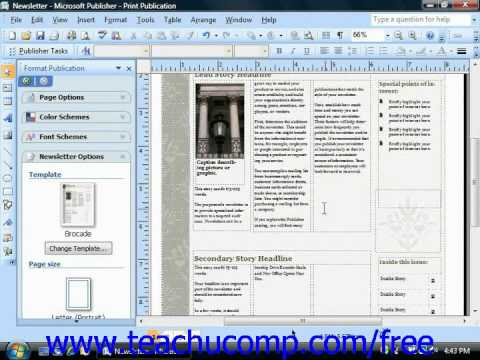 Publisher 2003 Tutorial Using the Layout Guides Microsoft Training Lesson 9.7