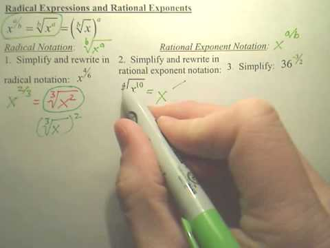 Radical Expressions and Rational Exponents - Algebra 2