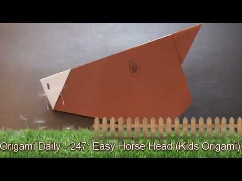 Origami Daily - 247 Easy Horse Head (Kids Origami) - TCGames [HD]