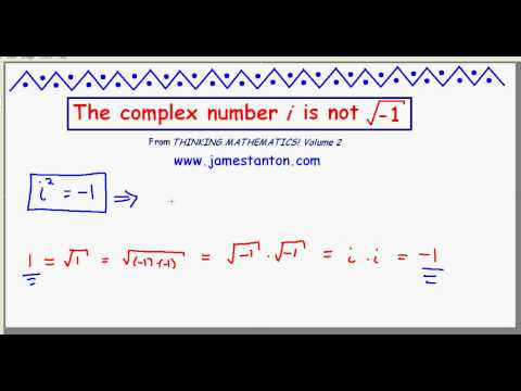 The Complex Number i is NOT the square root of negative one! (TANTON Mathematics)