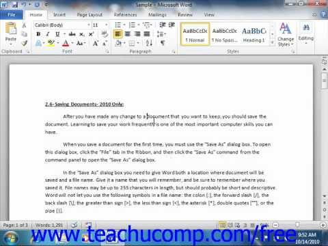 Word 2010 Tutorial Moving through Text Toolbar Microsoft Training Lesson 2.9
