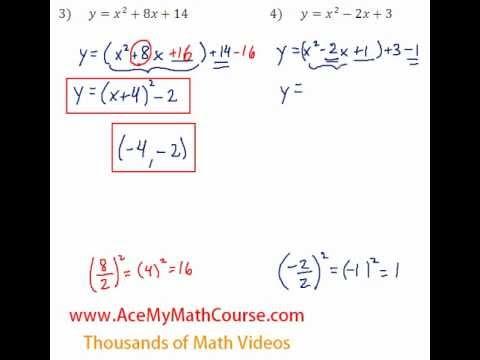 Quadratics - Finding the Vertex Question #4