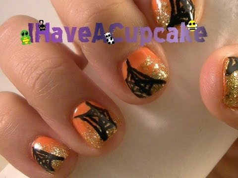 Simple Halloween Spider Web Nail Art - Right Hand
