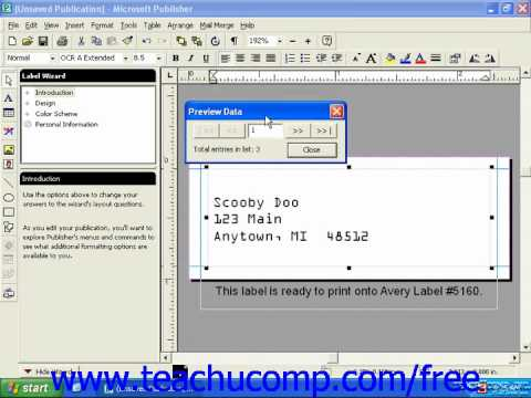 Publisher 2003 Tutorial Merging Data with a Publication 2000 Microsoft Training Lesson 11.4