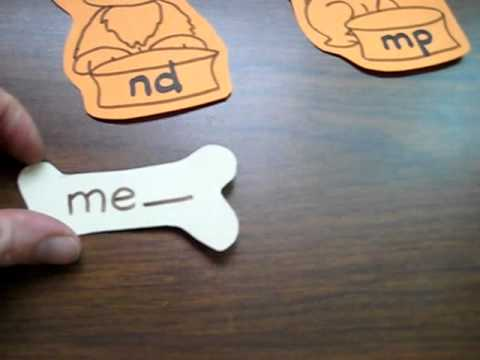Preschool - Reading-Phonics-Spelling: dog bones game with ending sounds - nd, mp.