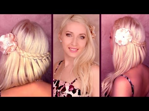 Picture day hairstyle for long hair tutorial Perfect braided homecoming half updo with curls