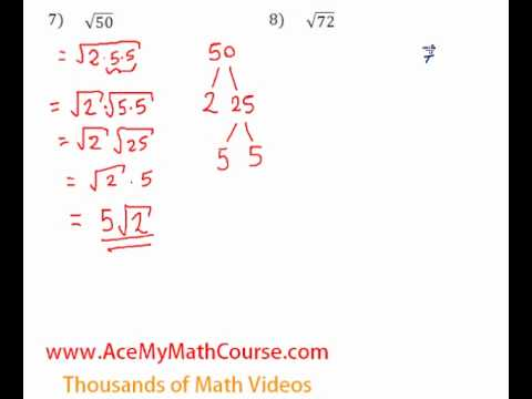 Simplifying Radicals - Questions #7-8