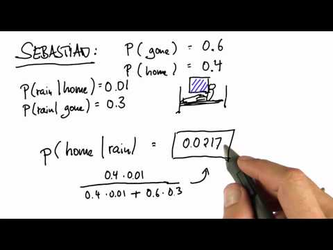 Sebastian at Home Solution - Intro to Statistics - Bayes Rule - Udacity