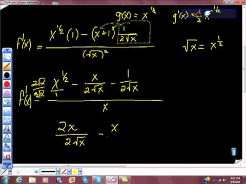 Quotient Rule Practice Problems