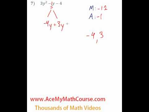 Polynomials - Factoring Trinomials (More Challenging) #7