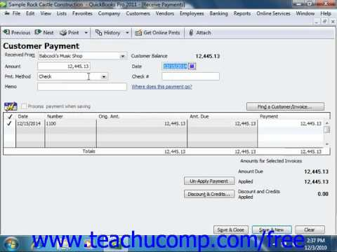 QuickBooks 2011 Tutorial Recording Customer Payments Intuit Training Lesson 10.1