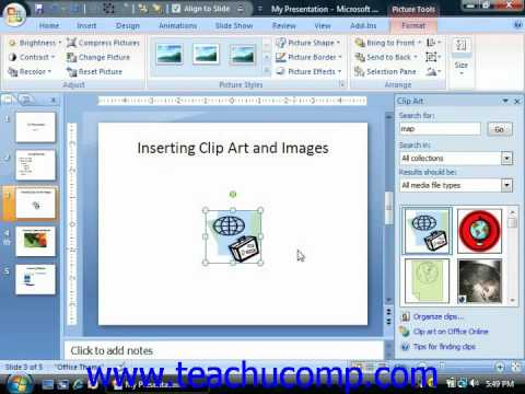 PowerPoint Tutorial Inserting Clip Art and Pictures Microsoft Training Lesson 5.1