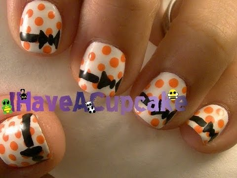 Simple Halloween Bows Nail Art