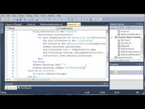 Visual Basic Tutorial - 200 - Combining The Favorites Tray And Favorites Window