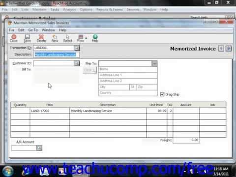 Peachtree Tutorial Memorized Transactions Sage Training Lesson 13.3
