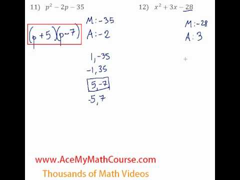 Polynomials - Factoring Trinomials #11-12