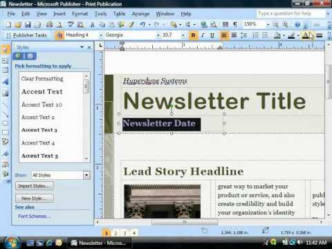 Publisher 2003 Tutorial Changing the Font Color Microsoft Training Lesson 4.4