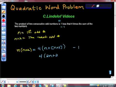 Quadratic Word Problem Consecutive Odd Numbers