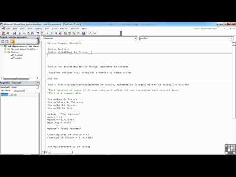VBA for Access Tutorial | The Scope and Lifetime of Variables | InfiniteSkills
