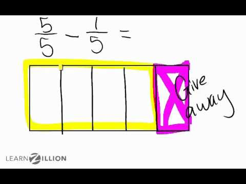 Subtract fractions with like denominators by labeling shapes - 4.NF.3