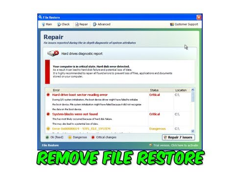 Remove File Restore and File Recovery Fake Hard Drive Diagnostic Program by Britec