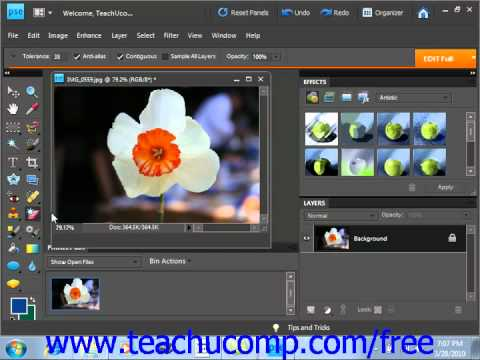 Photoshop Elements 9.0 Tutorial The Background Eraser Tool Adobe Training Lesson 6.9