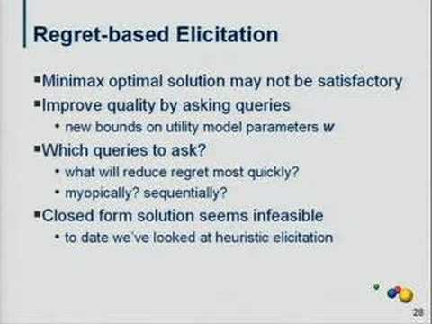 Regret-based Methods for Preference Elicitation and...