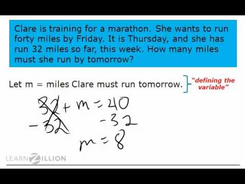 Solve real world problems using addition and subtraction equations - 6.EE.7