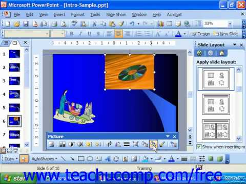 PowerPoint 2003 Tutorial Cropping Clip Art Microsoft Training Lesson 9.8