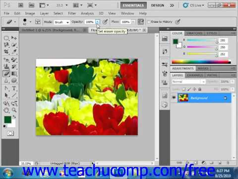 Photoshop CS5 Tutorial The Eraser Tool Adobe Training Lesson 5.6
