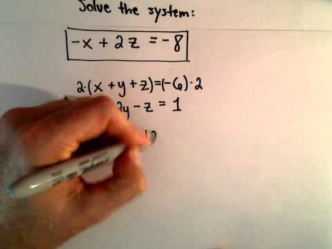 System of 3 Equations, 3 Unknowns Using Substitution - Ex 2