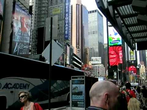 Walking up Broadway at Times Square, New York City