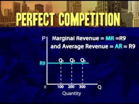 Perfect competition:  Average revenue = marginal revenue = price