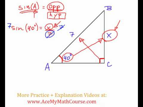 Sine Ratio - Question #2 (Intro Trig)