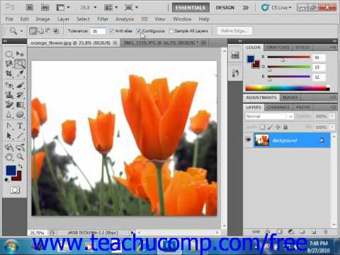 Photoshop CS5 Tutorial The Magic Wand Tool Adobe Training Lesson 7.6