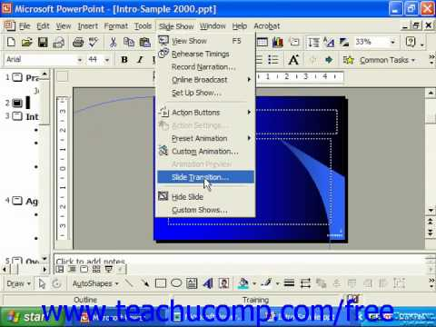 PowerPoint 2003 Tutorial Adding Slide Animation 2000 & 97 Microsoft Training Lesson 17.4