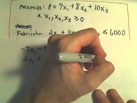 The Simplex Method - Finding a Maximum / Word Problem Example, Part 2 of 5